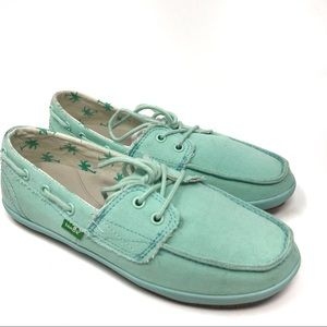 Sanuk | Women's Blue-Green Casual Lace-Up Sneakers